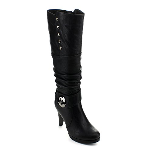 Slouched High Black Womens Toe Round 45 Knee Boots Top Heel High Win Moda fzq87