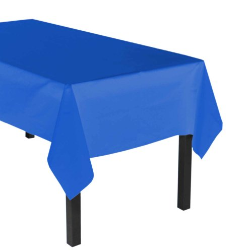 Party Essentials Heavy Duty Plastic Table Cover Available in 44 Colors, 54' x 108', Royal Blue