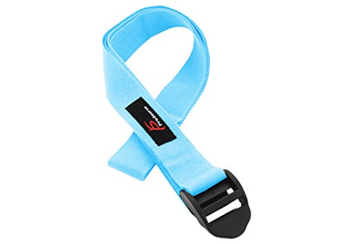 ProSource Durable Cotton Cinch Buckle Yoga Strap for Stretching & Flexibility, Aqua
