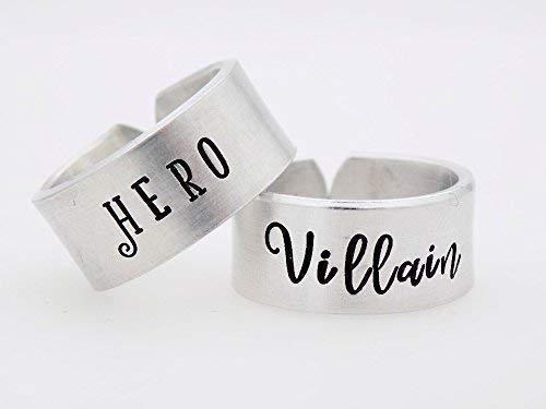 Hero and Villain, Couples matching rings, Matching Set,
