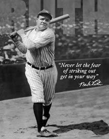 Babe Ruth No Fear - Retro Tin Sign , 12x16