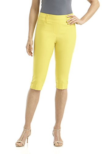 (Rekucci Women's Ease in to Comfort Stretchy Slim Fit Capri with Cuff Detail (14,Pineapple Yellow))