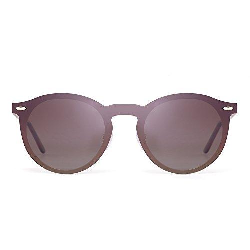 Una Gafas Sin de Anteojos Polarizadas Reflexivo Mujer Marrón Hombre Redondas Montura Pieza Halo Jim Dorado Sol Espejo Polarizado 5Xqw0w4