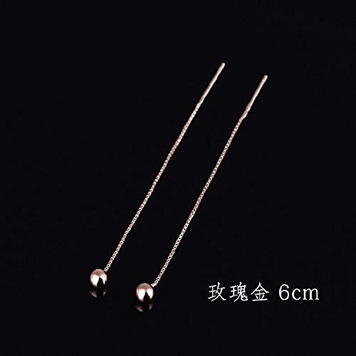- TBSOTB s925 Sterling Silver Ear Wire Earrings Earring Dangler Eardrop Gift Woman peas Women Girls 18k Rose Gold-Plated Gold Small Long (a70102- peas Ear line Rose Gold 6cm