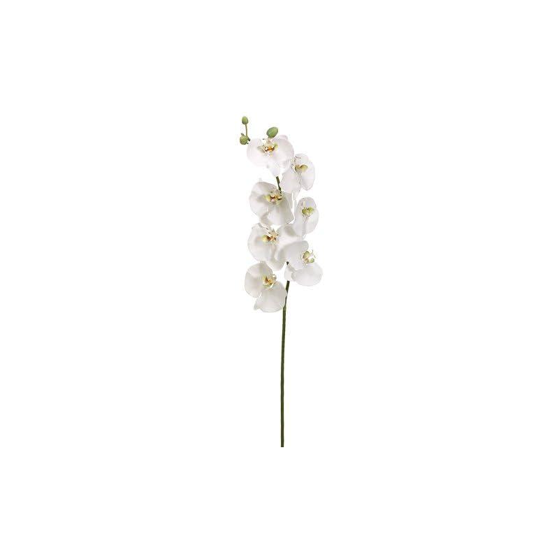 "silk flower arrangements 45"" handwrapped silk phalaenopsis orchid flower spray -white/green (pack of 4)"