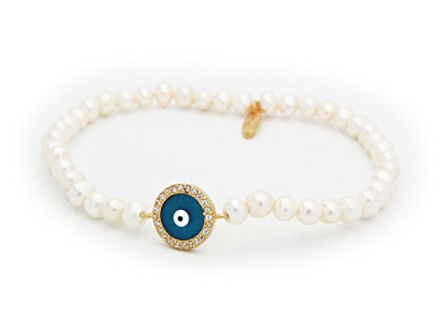 Fronay Collection Evil Eye Freshwater Cultured Pearls Bracelet with Cubic Zirconia in Sterling ()