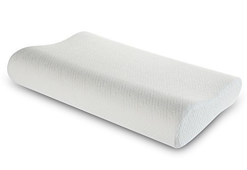 Low Profile Memory Foam Contour Pillow, Soft Bed Pillow for Neck Pain Relief, Ergonomic Neck and Cervical Support Pillow by WeNerya, Standard, White