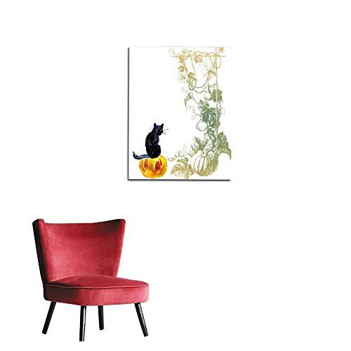 longbuyer Photographic Wallpaper Cat on Pumpkin Halloween Composition Mural 20