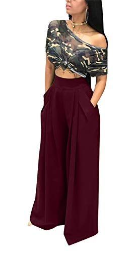 Women's Casual Loose Plain Pleated Flared Wide Leg Palazzo Pants Trousers Plus Size