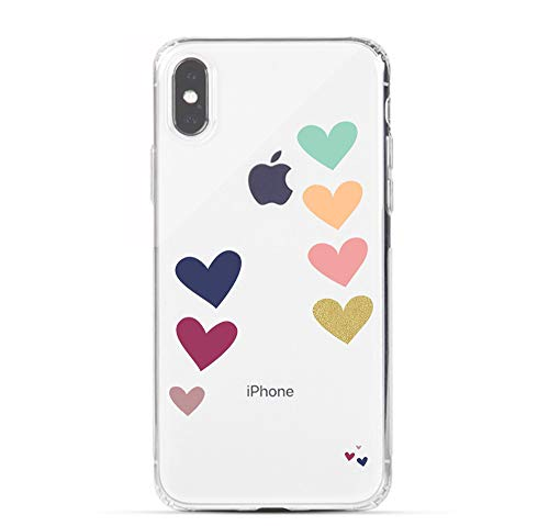 HUIYCUU Case Compatible with iPhone Xs MAX Case, Colorful Loving Heart Design Print Shockproof Soft Protective Back Case for Girl Women Cute Floral Pattern Clear Novelty Bumper Cover