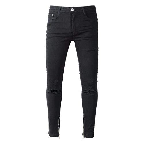 Destroyed Da Di Holes Pantaloni Denim Nero Chern Fit Strech Jeans Skinny Slim Uomo Ragazzo Bdwnnqz6