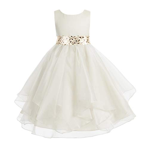 (ekidsbridal Asymmetric Ruffled Organza Sequin Flower Girl Dress Princess Dresses 012S 6 Ivory)
