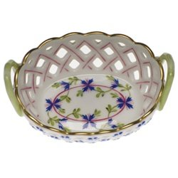 Openwork Basket (Herend Blue Garland Openwork Basket With Handles)