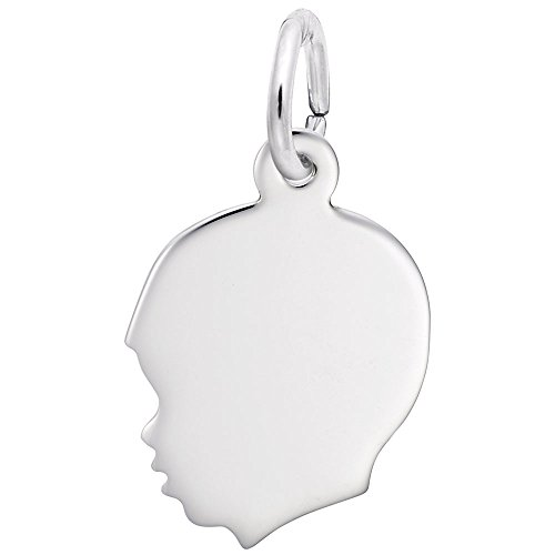Boys Head Charm In Sterling Silver, Charms for Bracelets and Necklaces