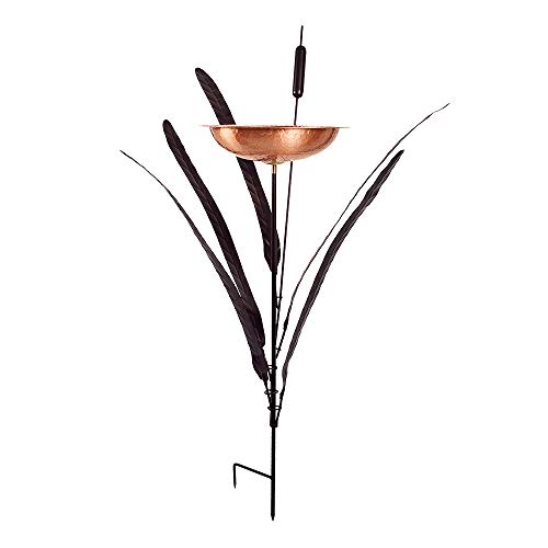 Cattail Birdbath with Copper Bowl