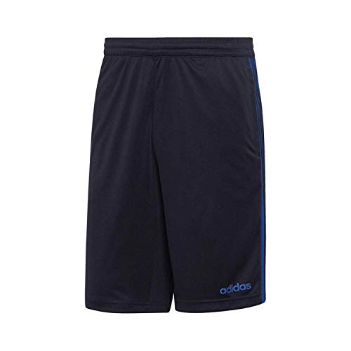 (adidas Men's D2M 3-Stripe Shorts Dark Grey Heather/Solid Grey/Shock Cyan Small 10)