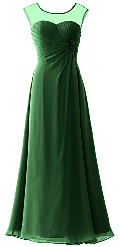 MACloth Women Cap Sleeves Chiffon Long Prom Dress Wedding Party Formal Gown Verde Oscuro