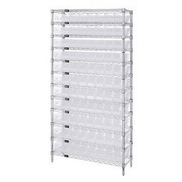 """Quantum Storage Systems WR12-103CL 12-Tier Complete Wire Shelving System with 77 QSB103 Clear-View Bins, Chrome Finish, 18"""" Width x 36"""" Length x 74"""" Height from Quantum Storage Systems"""