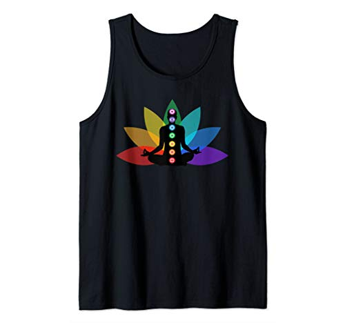 Rainbow 7 Chakras T-Shirt Lotus Flower Zen Yoga Gift Shirt Tank ()
