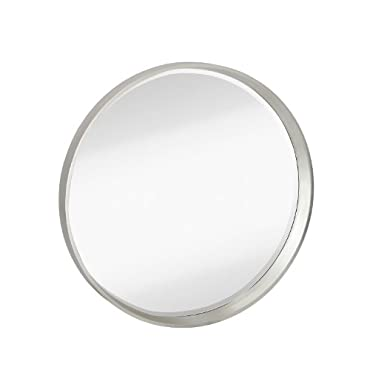 Majestic Mirror Modern Round Simple Silver Frame Beveled Glass Wall Mirror