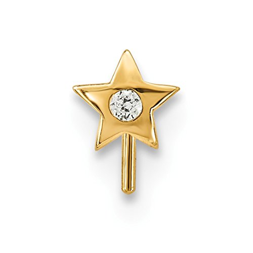 - 14k Yellow Gold Cubic Zirconia Cz Star Nose Stud Body Nostril Fine Jewelry For Women Gift Set