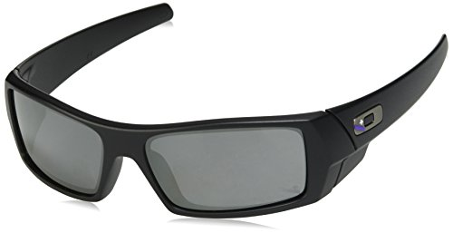 Oakley Men's OO9014 Gascan Rectangular Sunglasses, Matte Black/Black Iridium, 60 ()