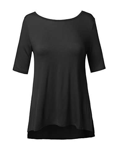 Soft Stretch High-Low Elbow Sleeve Back Cross Strap Top Black Size M