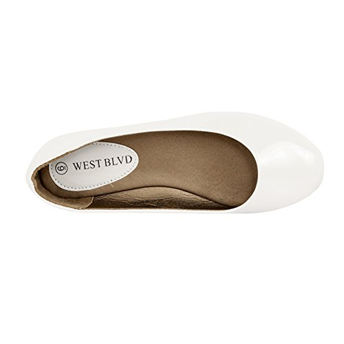 West Blvd Womens Casual Ballet Flat White Patent csAlw