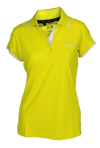 adidas Taylormade Womens Front Pocket Solid Polo Shirt with Patch (Large (6), Sunburst/White)
