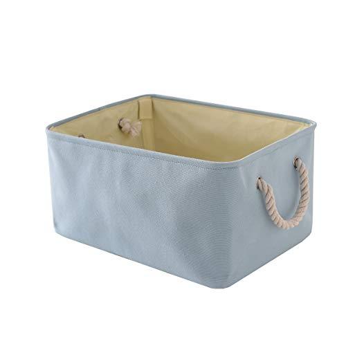 TheWarmHome Decorative Basket Fabric Storage Basket Bin Organizer with Sturdy Rod for Clothes Storage,Baby Storage, Toy Storage, Nursery Baskets for Gifts Empty (Blue, 15.7L11.8W8.3H)