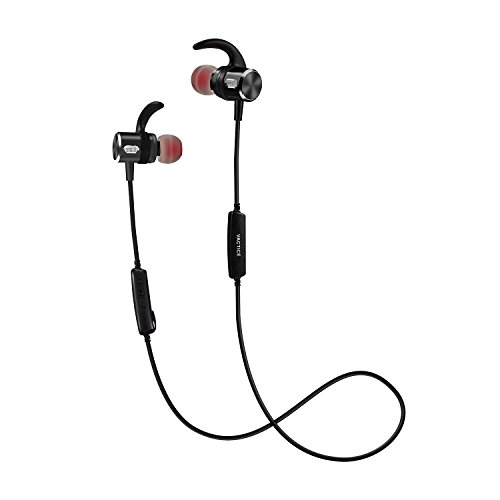 VACTICE Bluetooth Headphone Wireless Sports in Ear Earphone w/Mic HD Stereo Sweatproof Splashproof for Running Gym 12 Hours Playtime CVC 6.0 Noise Cancelling Secure Fit (Black)