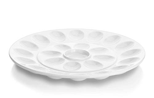 DOWAN 12.6-inch Porcelain Deviled Egg Dish/Egg Platter with 25-Compartment, Round&White