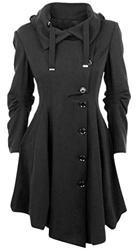 Pleated Trench - Wofupowga Women's Button Gothic Pleated Irregular Loose Trench Wool Blend Coat Jacket Black XL