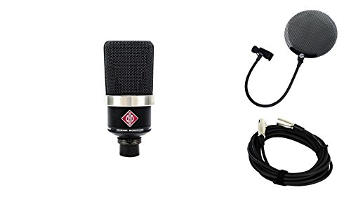 Neumann TLM 102 Black Microphone Bundle with 20-foot XLR Cable & Pop Filter (3 Items) ()