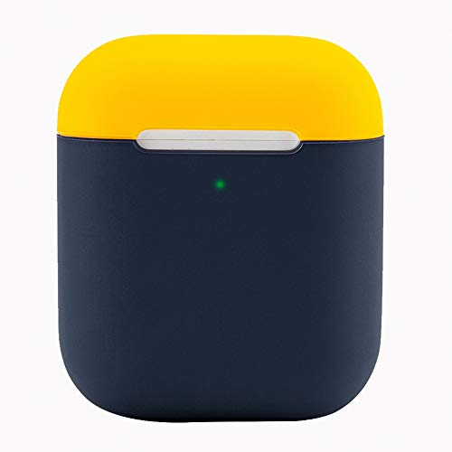 Protective Airpods Case [Front LED Visible][Made of 2 Pcs] Shock Proof Soft Skin for Airpods Charging Case 1&2 (Yellow/Blue)