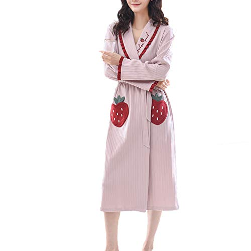 Forall-Ms Girls Cotton Dressing Gown,Housecoat Soft&Cute Robes Bathrobe for Women Long Kimonos Nightgown Luxury Pajama Ladies Personalised Gifts,Pink-XL