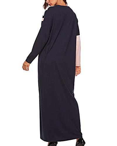 Musulmano Completo color Blocchi A M Size Navy Festa Funytine Per Casual Di Lunghe Da Navy Colore Abito Cucitura Maniche Donna Bn07q