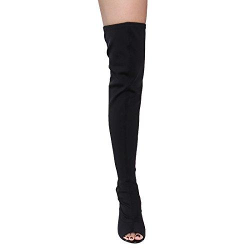 Cape Robbin CONNIE-1 Damen Lycra Overknee Overknee High Peep Toe Stiefel Schwarz