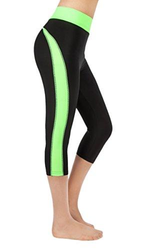 Women's Activewear Capri Workout Leggings Yoga/Running Pants (Medium/Large, Black/Neon Green)