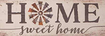 Darlene Louisa Home Sweet Home Vintage Windmill 10 x 4.5 Inch Pine Wood Plank Wall Plaque Sign