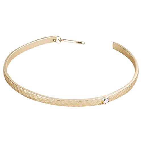 Crystal Gold Tone Metal - Demdaco Crystal Inlay Goldtone Hammered One Size Women's Metal Honor Band Bangle Bracelet