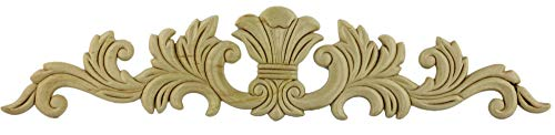 "Large Splash Branches Birch Wood Applique - 16-1/2"" X 3-3/8"" - Onlay Antique & Modern Furniture Doors, Walls Carved Ornamental Decor + Free Bonus (Skeleton Key Badge) G10-B67"