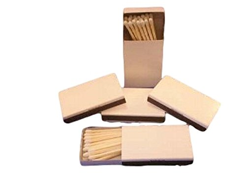 Wooden Box Matches with Plain White Cover, 50 Pcs