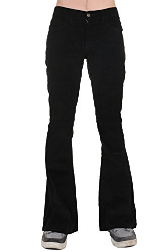 Run & Fly Men's 70's Retro Vintage Bellbottom Corduroy Super Flares 38 Long Black (Flare Corduroys Cotton)