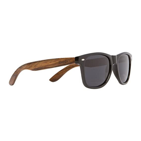 Wood Sunglasses with Polarized Lens in Bamboo Tube Packaging Woodies 3 COMFORTABLE: Handmade from REAL Walnut Wood EXTRAS: Includes FREE Bamboo Tube, Lens Cloth, and Wood Guitar Pick PROTECTION: Polarized Lenses Provide 100% UVA/UVB Protection