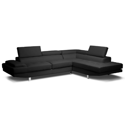 Baxton Studio Selma Leather Modern Sectional Sofa, Black