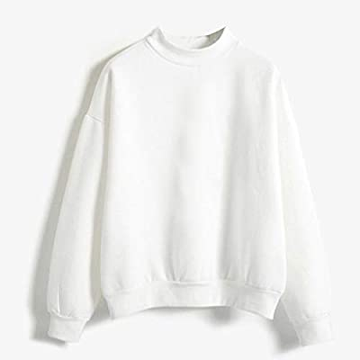 Women Blouse, Mitiy Soild Color Crew Neck Long Sleeve Tops Casual Pullover Sweatshirts: Clothing