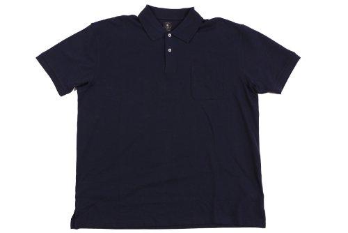 Dunkelblaues Poloshirt von Kitaro in Übergrößen bis 9XL, Größe:5XL