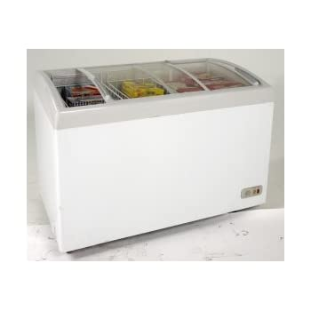 """Avanti CFC86F0WG 43"""" Commercially Approved Glass Top Display Chest Freezer with 8.6 cu. ft. Capacity in White"""