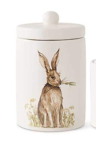 Decorative White Vintage Bunny Canisters, Ceramic Tabletop Decor (6.75 Inch High)